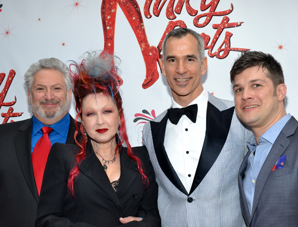 Book writer Harvey Fierstein, composer Cyndi Lauper, director Jerry Mitchell, and music supervisor Stephen Oremus are ready to party.<br />(© David Gordon)
