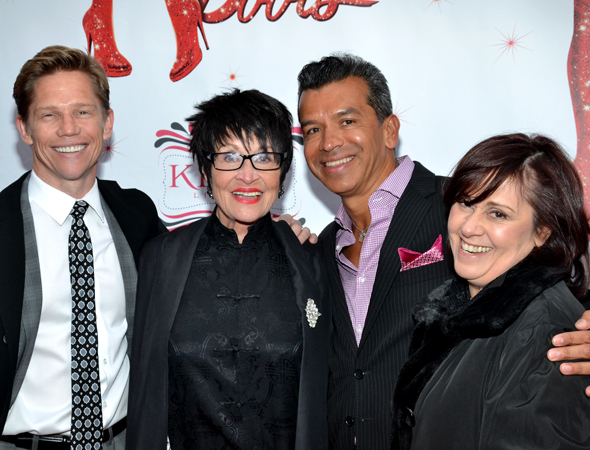Jack Noseworthy and his partner, choreographer Sergio Trujillo, attend with Tony Award winner Chita Rivera and daughter Lisa Mordente. <br />(© David Gordon)