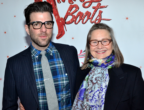 Zachary Quinto and Cherry Jones, who recently starred in <i>The Glass Menagerie</i> at A.R.T., accompany each other to Broadway's <i>Kinky Boots</i>.<br />(© David Gordon)