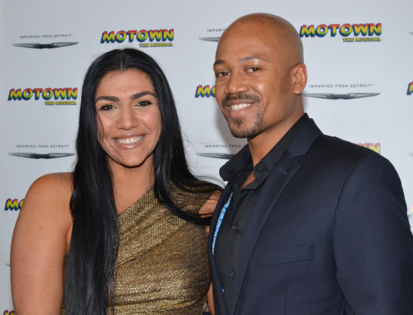 Reality star Asa Soltan Rahmati joins boyfriend Jermaine Jackson II for a photo before <i>Motown</i>.<br />(© David Gordon)