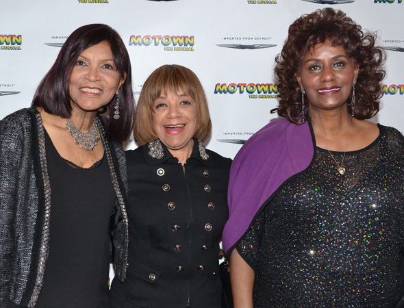 Motown group The Velvelettes — made up of Bertha Barbee-McNeal — Norma Barbee-Fairhurst, and Caldin Gill Street, reunite to check out <i>Motown: The Musical</i>.<br />(© David Gordon)