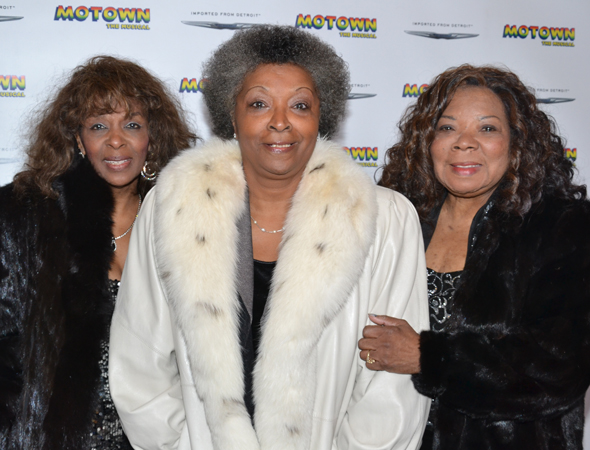 Vandellas Annette Beard, Betty Kelly, and Rosalind Ashford pose for photos before <i>Motown: The Musical</i>.<br />(© David Gordon)
