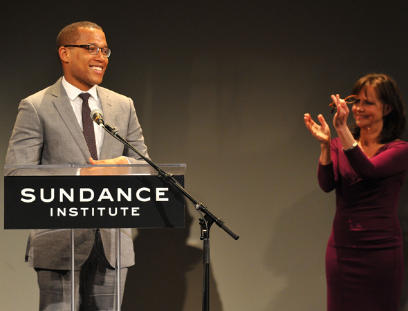 As Sally Field applauds, Branden Jacobs-Jenkins accepts his award.<br />(© Theo Wargo/WireImage)