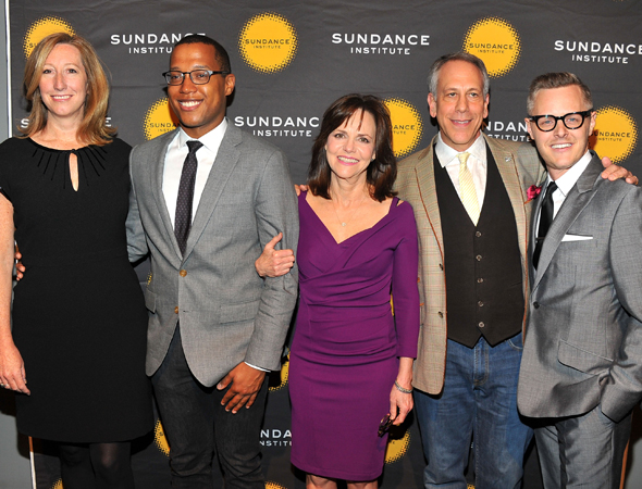 Keri Puntnam, Branden Jacobs-Jenkins, Sally Field, Producing Artistic Director Philip Himberg, and Associate Director Christopher Hibma smile for the camera.<br />(© Theo Wargo/WireImage)