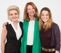 (L-R) Alison Fraser, playwright Wendy Beckett, and Margot White of <i>Love Therapy</i>.