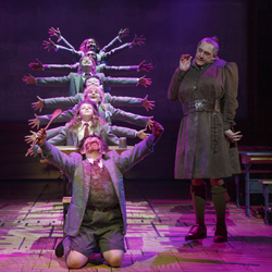 Bertie Carvel (right) and the children of <i>Matilda</i>