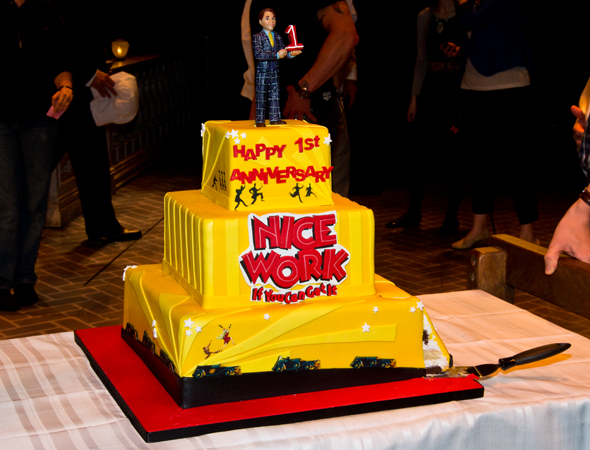 "Up close and personal with the ""delishious"" <i>Nice Work</i> anniversary cake. Is that a Matthew Broderick cake topper?<br />(© David Gordon)"
