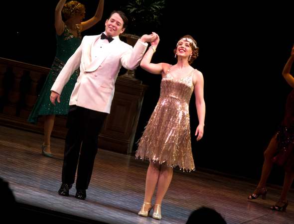 With the audience on their feet, Matthew Broderick and Jessie Mueller take their curtain call following the matinee performance on April 10.<br />(© David Gordon)