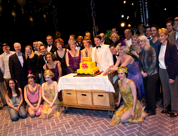 It takes a village to create a Broadway show. The <i>Nice Work</i> cast is joined by their producers, creatives, and backstage team members to celebrate.<br />(© David Gordon)