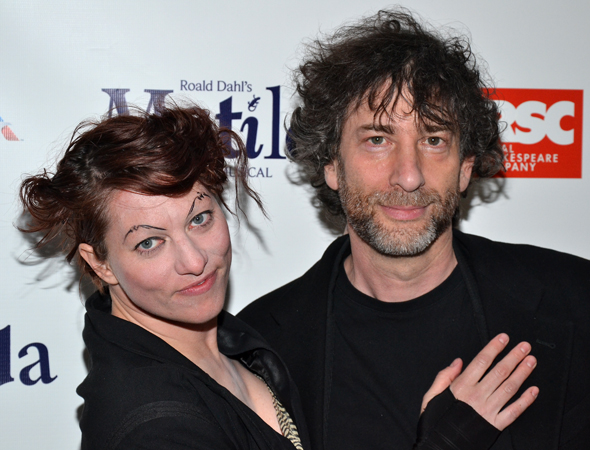 Singer Amanda Palmer and author Neil Gaiman get ready for the Broadway opening of their pal Tim Minchin.<br />(© David Gordon)