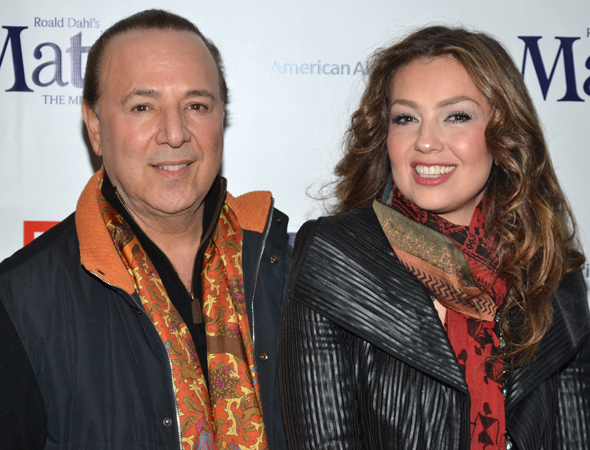 Music mogul Tommy Mottola and wife Thalía are bundled up on the chilly New York night.<br />(© David Gordon)