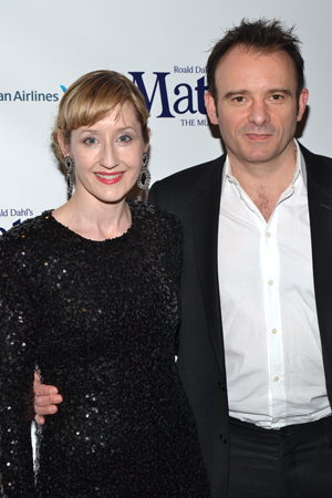Lauren Ward, who plays the kindly Miss Honey, shares a photo with her husband, <i>Matilda</i> director Matthew Warchus.<br />(© David Gordon)