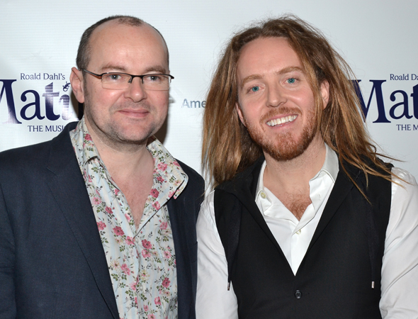 Playwright Dennis Kelly and comedian/rocker Tim Minchin are <i>Matilda</i>'s overjoyed coauthors.<br />(© David Gordon)
