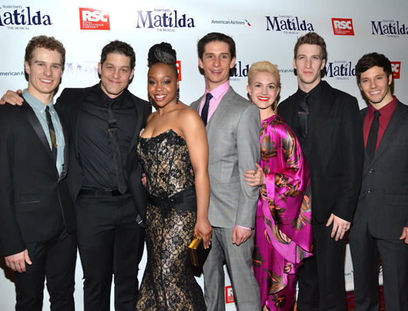 Proud members of the <i>Matilda</i> ensemble smile for the camera.<br />(© David Gordon)