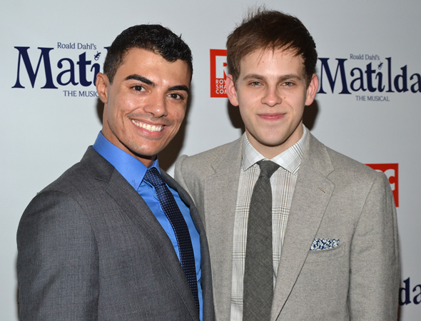 Production swing Yurel Echezarreta joins Taylor Trensch (Michael Wormwood) for an opening night pic.<br />(© David Gordon)