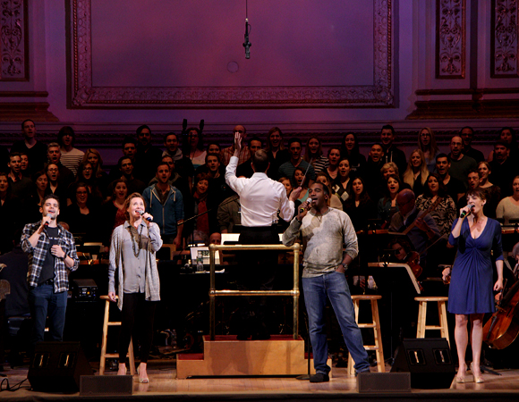 Jeremy Jordan, Jennifer Laura Thompson, Norm Lewis, and Julia Murney