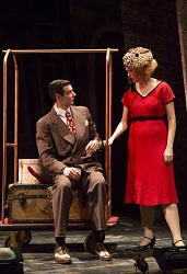 "Paul Melendy and Ellen Adair in Huntington Theatre Company's production of Ryan Landry's <i>""M""</i>"