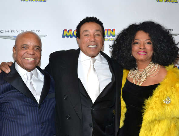 The trio of the hour: Motown founder Berry Gordy gets close with legendary singers Smokey Robinson and Diana Ross. Diana Ross is thrilled to show her support for Broadway's <i>Motown</i>.<br />(© David Gordon)