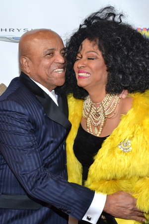Berry Gordy snuggles up to Diana Ross.<br />(© David Gordon)
