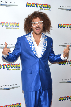 LMFAO's Redfoo shows up to his dad's (aka Berry Gordy) Broadway opening in style.<br />(© David Gordon)