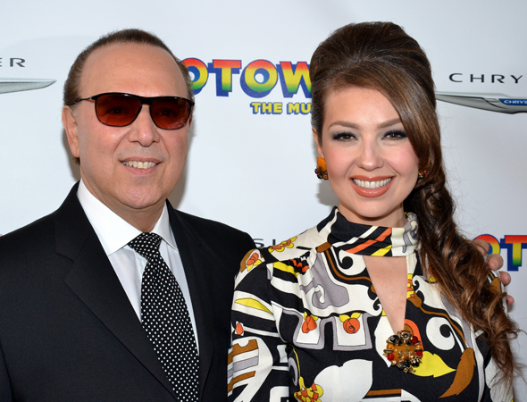Record mogul Tommy Mottola and his wife, singer Thalia, smile on their way into the Lunt-Fontanne.<br />(© David Gordon)