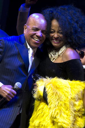 Berry Gordy and Diana Ross share an embrace.<br />(© David Gordon)