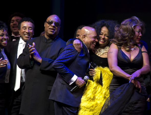 A host of Motown family members, including (from left) Gladys Knight, Smokey Robinson, Stevie Wonder, Berry Gordy, Diana Ross, and Mary Wilson take the stage for a curtain call.<br />(© David Gordon)