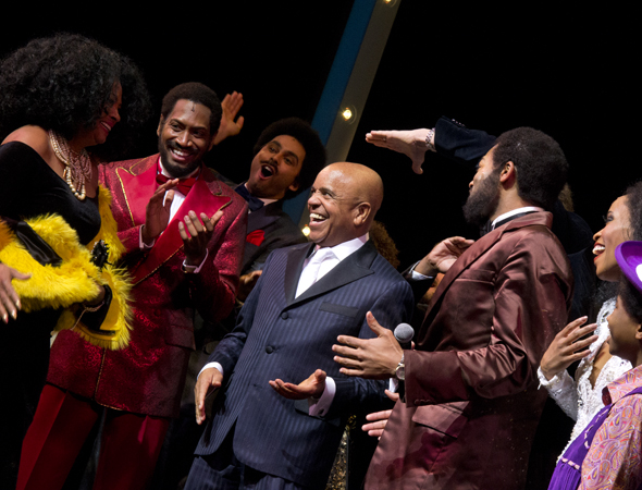 Berry Gordy and the cast of <i>Motown</i> are surprised by the one-and-only Diana Ross.<br />(© David Gordon)