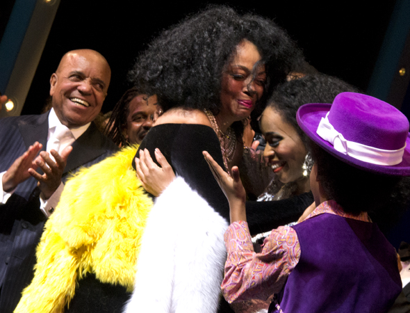 Diana Ross hugs her on stage portrayer, Valisa LeKae.<br />(© David Gordon)