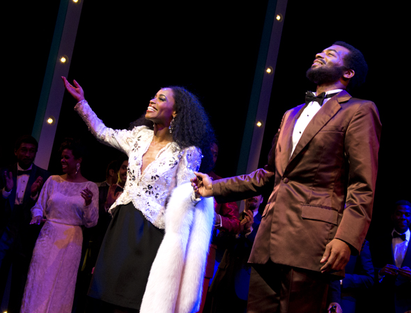 Valisia LeKae and Brandon Victor Dixon share their triumphant curtain call.<br />(© David Gordon)