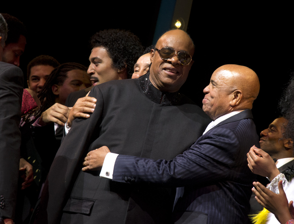 Berry Gordy hugs Stevie Wonder.<br />(© David Gordon)
