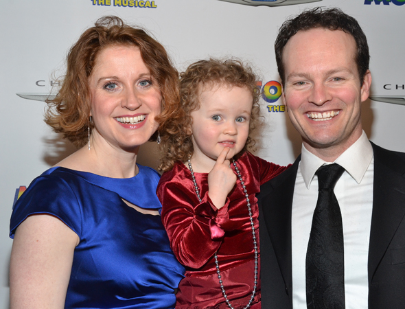 Tony Award nominee Christiane Noll shows up to support her husband Jamie LaVerdiere, who is a swing in <I>Motown</I>. Here they are with their daughter Rianna.<br />(© David Gordon)