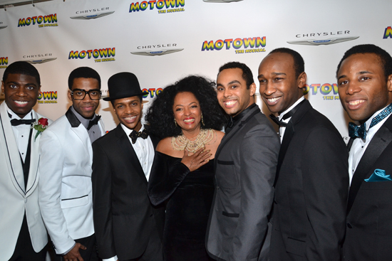 Here's a group of <I>Motown</I>'s men with the real-life Diana Ross, who is overwhelmed by the whole experience. <br />(© David Gordon)