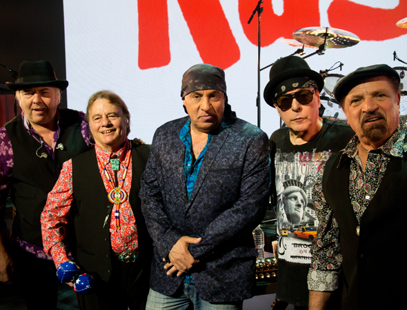 Steven Van Zandt is flanked by The Rascals on stage at the Richard Rodgers Theatre.<br />(© David Gordon)