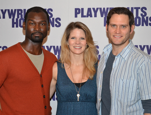Kelli O'Hara (center) leads the company alongside Isaiah Johnson (left) and Steven Pasquale (right).<br />(© David Gordon)