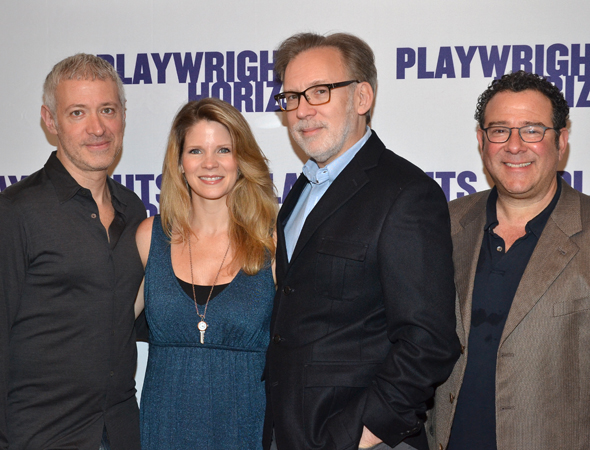 The creative team, composer Scott Frankel, lyricist Michael Korie, and director Michael Greif, join leading lady Kelli O'Hara for a photo.<br />(© David Gordon)