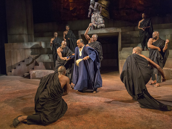 Caesar (Jeffrey Kissoon) is set upon by a group of treacherous Senators in <I>Julius Caesar</I>.