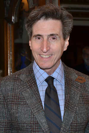Paul Rudnick smiles on his way into the Lyceum Theatre.<br />(© David Gordon)