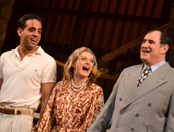 <i>The Big Knife</i> stars Bobby Cannavale, Marin Ireland, and Richard Kind take a joy-filled curtain call.<br />(© David Gordon)