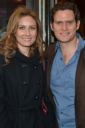 Broadway couple Laura Benanti and Steven Pasquale show up for a night at the theater.<br />(© David Gordon)