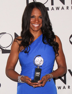 Audra McDonald with one of her five Tony Awards.