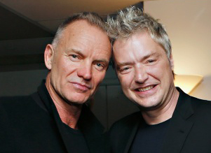 Sting and Chris Botti share a photo backstage at 54 Below.<br />(© Cindy Ord/Getty Images for 54 Below)