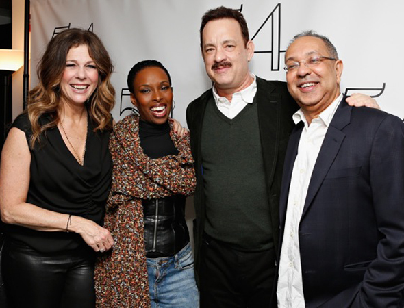 Brenda Braxton, who costarred with Rita Wilson in Broadway's <i>Chicago</i>, smiles alongside the actress/singer; Wilson's husband, Tom Hanks; and Hanks' <i>Lucky Guy</i> director, George C. Wolfe.<br />(© Cindy Ord/Getty Images for 54 Below)