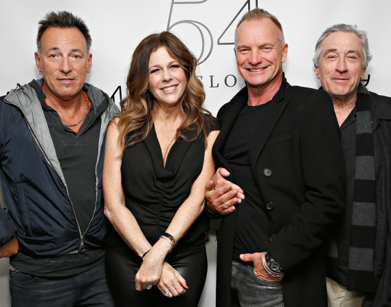 Bruce Springsteen, Sting, and Robert De Niro pose with actress/singer Rita Wilson backstage at 54 Below on April 15.<br />(© Cindy Ord/Getty Images for 54 Below)