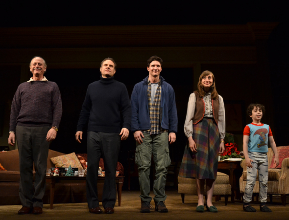 Mark Blum, Jonathan Walker, Jake Silbermann, Lauren Blumenfeld, and Alex Dreier on stage during their curtain call.<br />(© David Gordon)