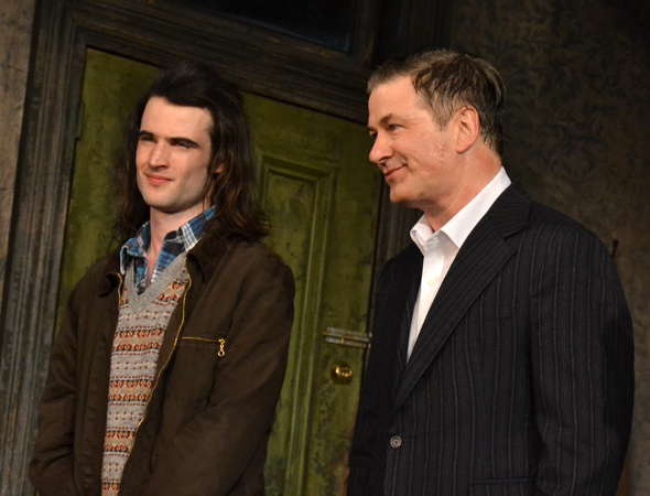 Tom Sturridge and Alec Baldwin drink in the audience's applause.<br />(© David Gordon)