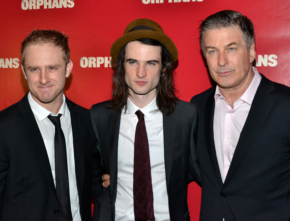 The men of <i>Orphans</i>: Ben Foster, Tom Sturridge, and Alec Baldwin.<br />(© David Gordon)