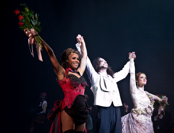 Deborah Cox, Constantine Maroulis, and Teal Wicks take their triumphant opening-night curtain call.<br />(© David Gordon)