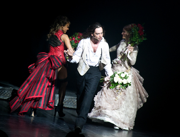 As Deborah Cox and Teal Wicks float offstage high on emotion, Constantine Maroulis still wants to hear the audience cheer!<br />(© David Gordon)