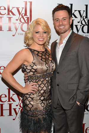 Cast member Brian Gallagher gets close with his ladyfriend, <i>Smash</i> star Megan Hilty.<br />(© David Gordon)
